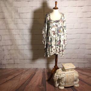 Free People Floral Bell Sleeve Peasant Mini Top